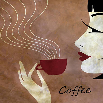 Brunette Mixed Media - Sassy Lady Coffee by Angelina Vick
