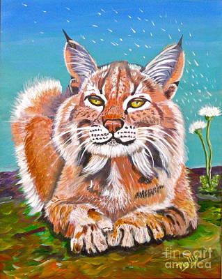 Sassy Lynx And Dandelions Art Print by Phyllis Kaltenbach