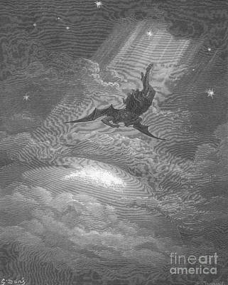 Satan Flying To Earth, By Dore Art Print by Photo Researchers