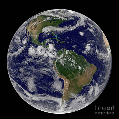 Photograph - Satellite Image Of Earth And Three by Stocktrek Images