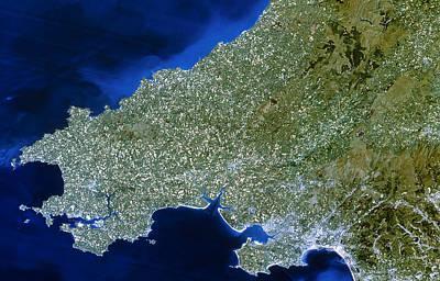 Satellite Image Of Southwest Wales Art Print