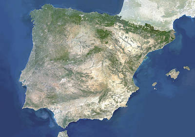 Menorca Photograph - Satellite Image Of Spain And Portugal by Planetobserver