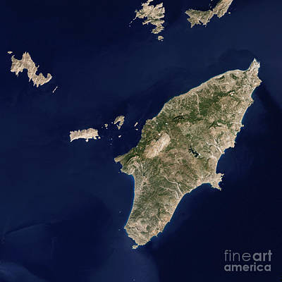 Satellite Image Of The Greek Island Art Print
