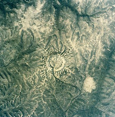 Satellite Radar Image Of Gora Konder Impact Crater Art Print by Nasavrs