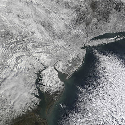 Satellite View Of A Noreaster Snow Art Print by Stocktrek Images