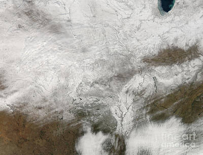 Satellite View Of A Severe Winter Storm Print by Stocktrek Images