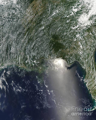 Gulf Oil Spill Photograph - Satellite View Of An Oil Spill by Stocktrek Images