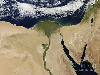 Aqaba Photograph - Satellite View Of Cairo, Egypt by Stocktrek Images