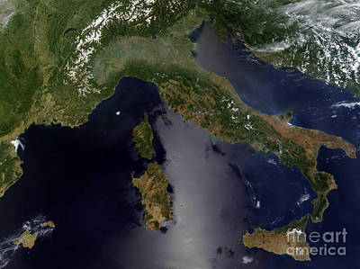 Mellow Yellow - Satellite View Of Italy And Southeast by Stocktrek Images