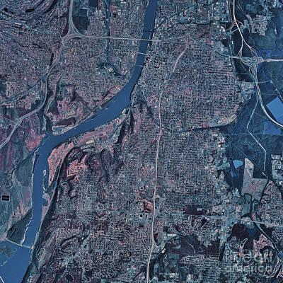 Satellite View Of Little Rock, Arkansas Art Print by Stocktrek Images