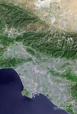 Satellite View Of Los Angeles Art Print