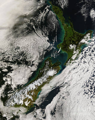 Satellite View Of New Zealand Art Print by Stocktrek Images