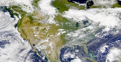 Satellite View Of North America Art Print by Stocktrek Images