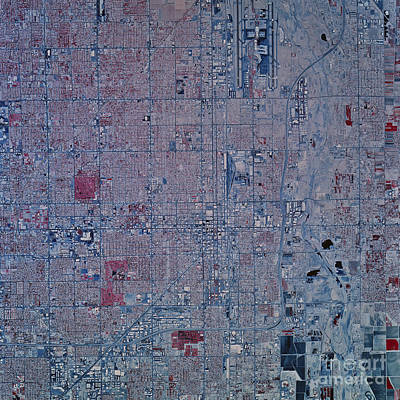 Satellite View Of Phoenix, Arizona Art Print by Stocktrek Images