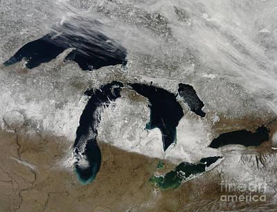 Satellite View Of Snow Across Wisonsin Art Print by Stocktrek Images