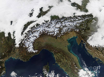 Satellite View Of The Alps Art Print by Stocktrek Images