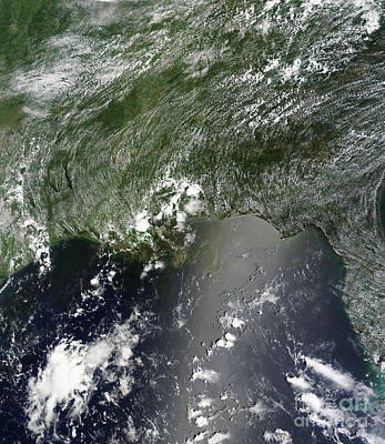 Gulf Oil Spill Photograph - Satellite View Of The Gulf Of Mexico by Stocktrek Images