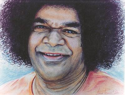 Baba Drawing - Sathya Sai Baba - Laughing Sai by Anne Provost