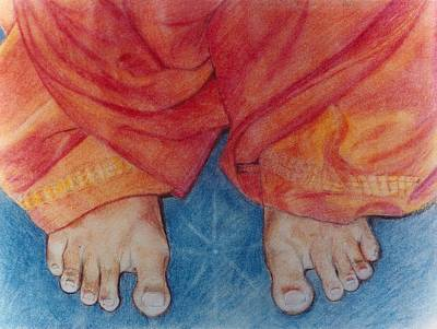Baba Drawing - Sathya Sai Baba - Lotus Feet by Anne Provost
