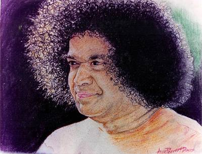 India Babas Drawing - Sathya Sai Baba- Aura Of Divinity by Anne Provost