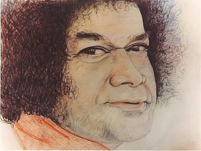 India Babas Drawing - Sathya Sai Baba- Hanumanji by Anne Provost