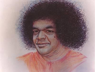 India Babas Drawing - Sathya Sai Baba- Krishna Sai by Anne Provost