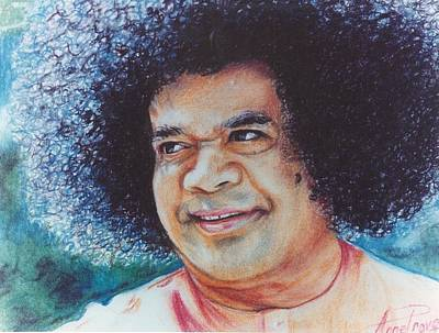 Baba Drawing - Sathya Sai Baba- Sai Blues And Greens by Anne Provost