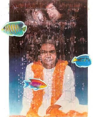 India Babas Mixed Media - Sathya Sai Baba- Sai Galactic by Anne Provost