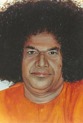 Baba Portrait Painting - Sathya Sai Baba- Sarada Sai by Anne Provost