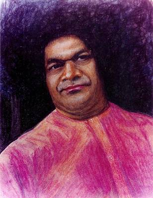Baba Drawing - Sathya Sai Baba- Stern Father Shiva by Anne Provost