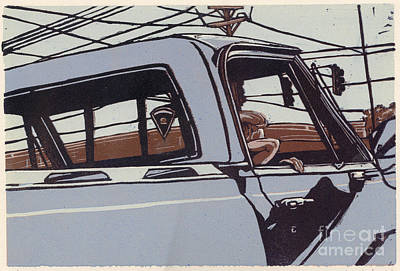 Saturday Afternoon - Linocut Print Print by Annie Laurie