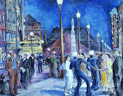 Depression Painting - Saturday Night - New London by Pg Reproductions
