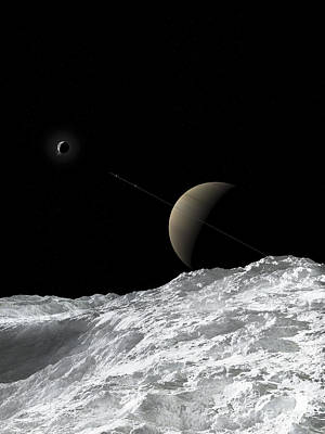 Enceladus Digital Art - Saturn And Enceladus As Seen by Fahad Sulehria