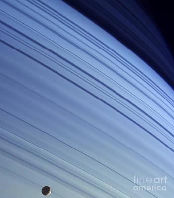 Photograph - Saturn And Mimas by NASA  Science Source