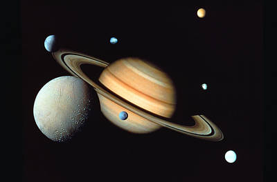 Planets Photograph - Saturn And Satellites by John Foxx