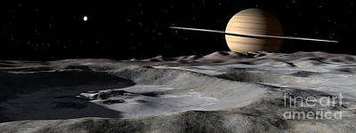 Surrealism Digital Art - Saturn Seen From The Surface by Ron Miller