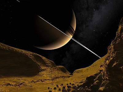 Saturn's Moon Enceladus, Artwork Art Print by Walter Myers