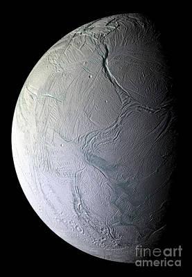 Saturns Moon Enceladus Art Print by Stocktrek Images