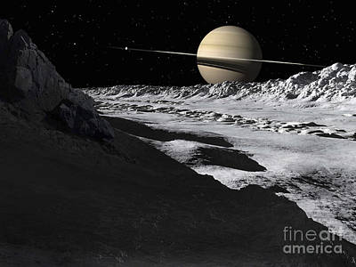 Saturns Moon, Tethys, Is Split By An Art Print by Ron Miller