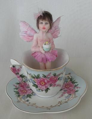 Fae Art Mixed Media - Savannah Teacup Fairy  by Deborah Gouldthorpe