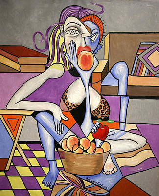 Save An Apple Eat A Peach Art Print by Anthony Falbo