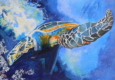 Save Water Painting - Save The Turtles by Warren Thompson