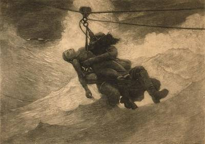 Saved 1888, An Etching By Winslow Homer Art Print