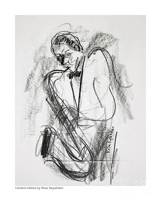 Drawing - Sax At The Cafe by Reza Sepahdari