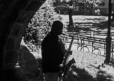Sax Player In Central Park Art Print by Allan Einhorn