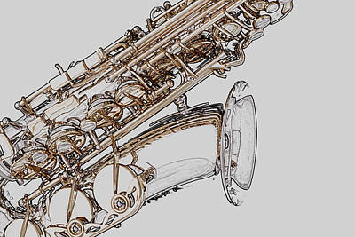 Wrap Digital Art - Saxophone Photo Drawing by M K  Miller