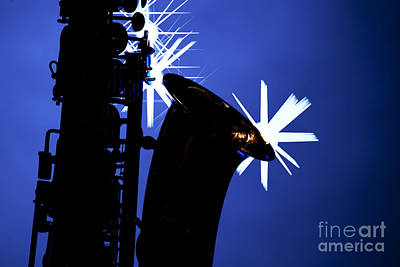 Saxophone Photograph - Saxophone Silhouette On Blue by M K  Miller