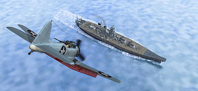 Digital Art - Sbd Dive Bomber And Japanese Battleship Yamato by Walter Colvin