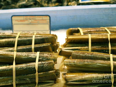 Razor Clams Wall Art - Photograph - Scallops Ensis Sea Shells In The Weekly Market by Anja Freak