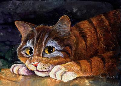 Scaredy Cat Art Print by Sherry Shipley